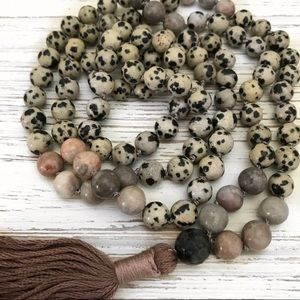 Gemstone Mala tassel necklace